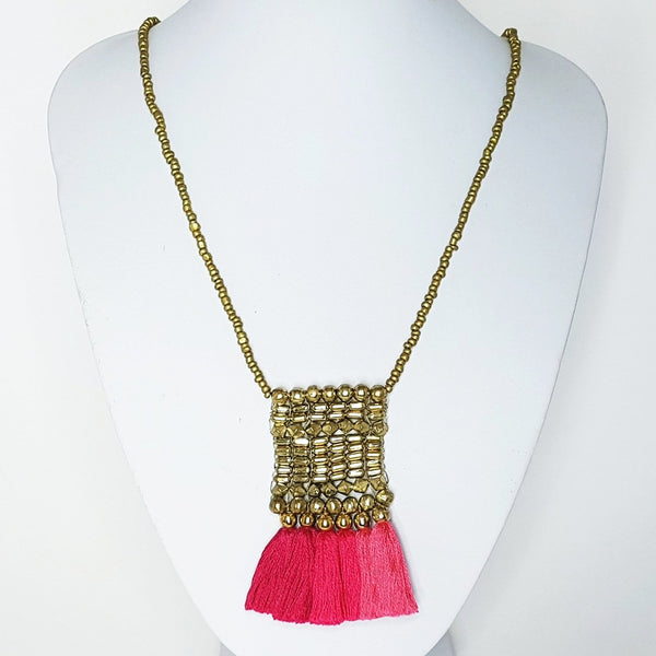 hot haveli kalena boho pink tassel necklace