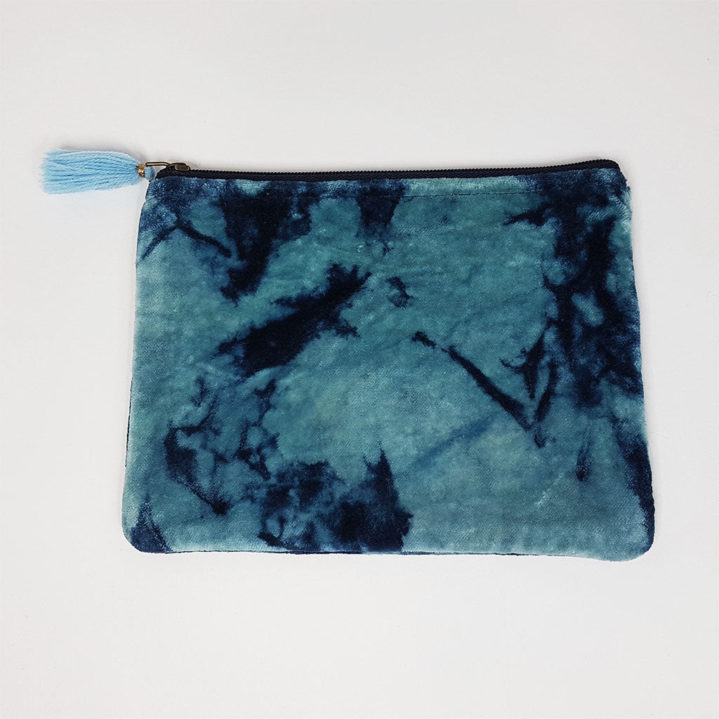hot haveli lahela hand tie dye velvet cotton pouch blue back