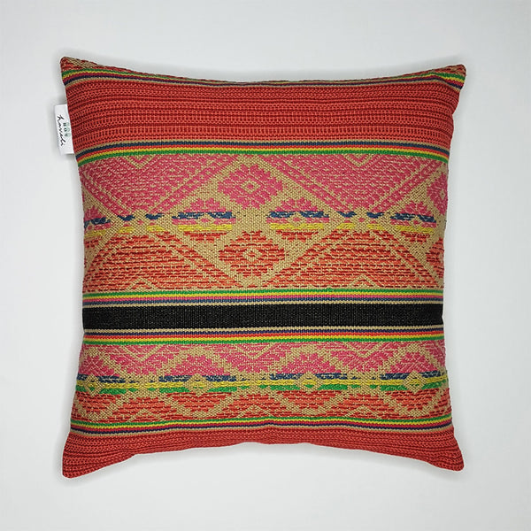 hot haveli lakshmi handwoven multi cotton cushion front