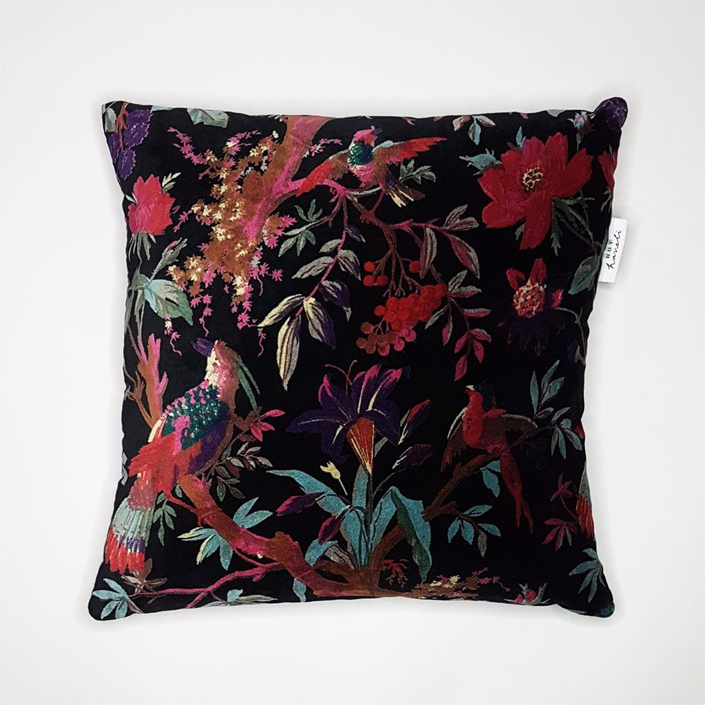 hot haveli libbie paradise bird velvet cushion black