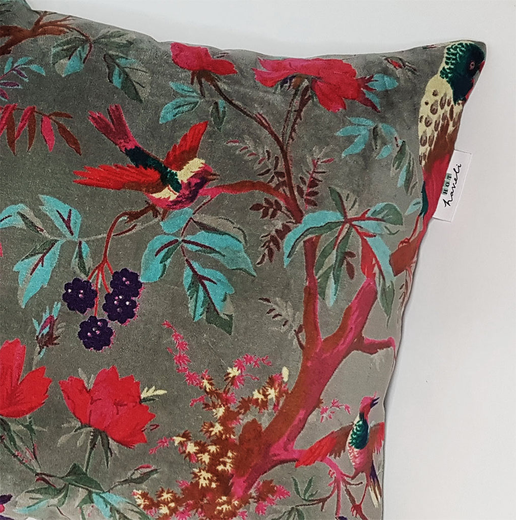 hot haveli libbie paradise bird velvet cushion grey zoom