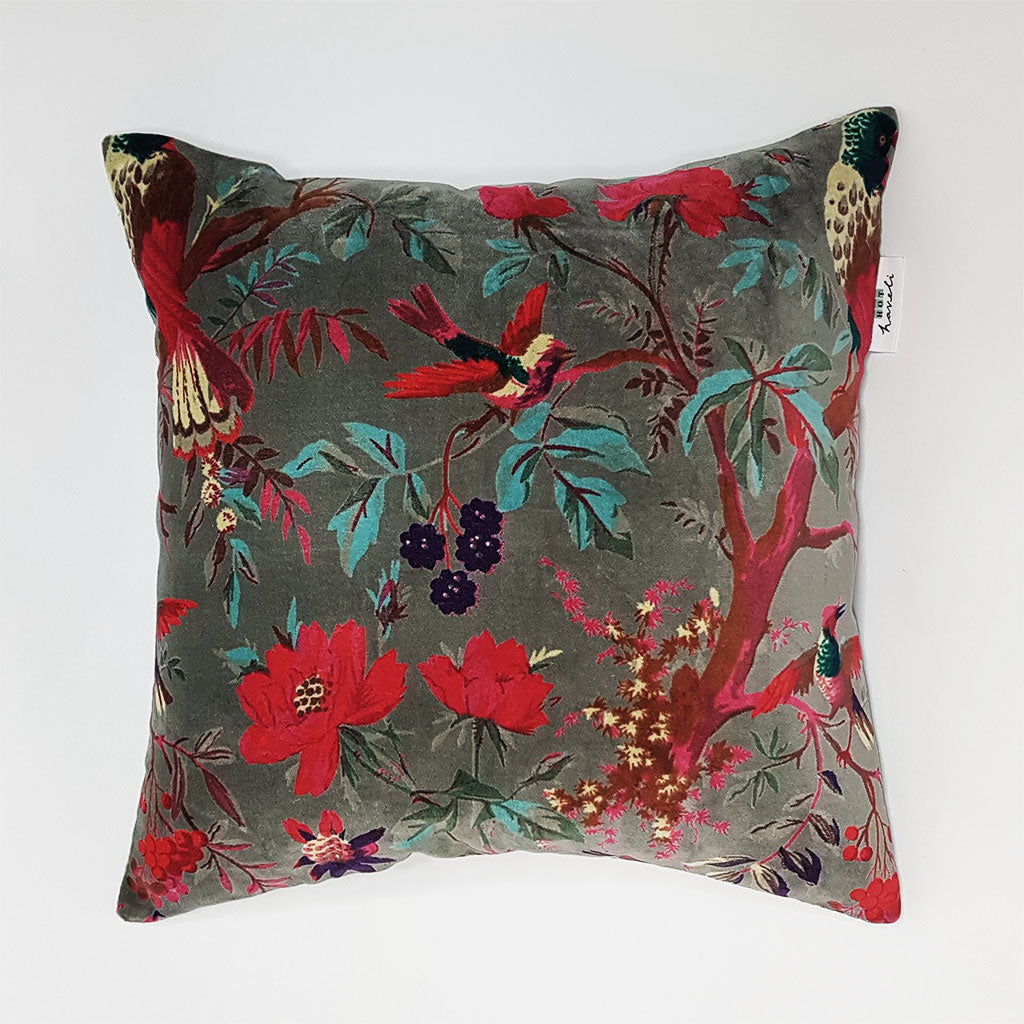 hot haveli libbie paradise bird velvet cushion grey