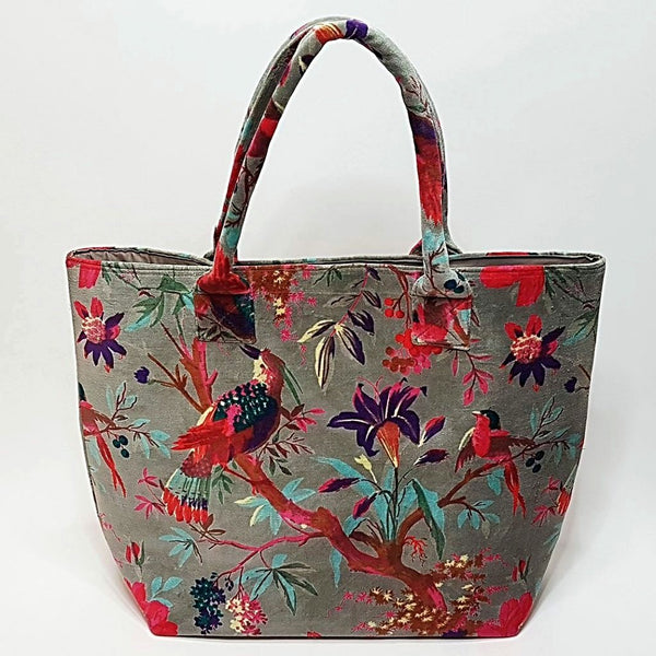 hot haveli libbie paradise bird velvet tote bag grey