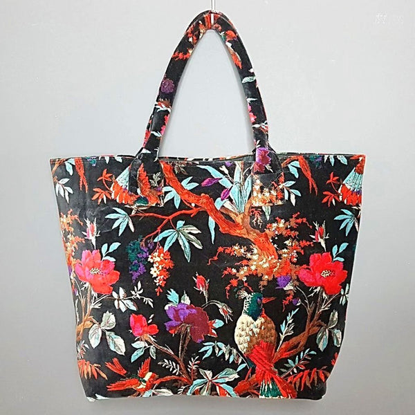 hot haveli libbie paradise bird velvet tote bag black