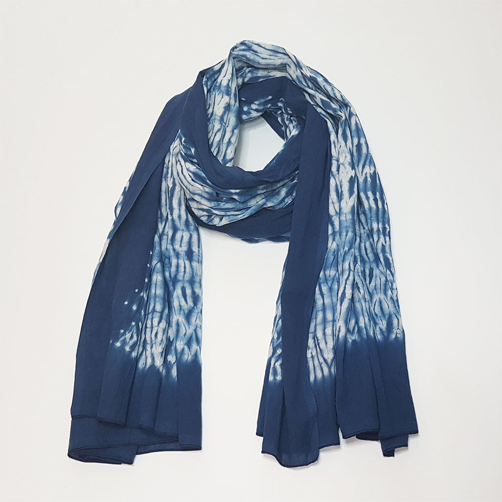 hot haveli lorcan cotton shibori tie dye scarf sarong blue