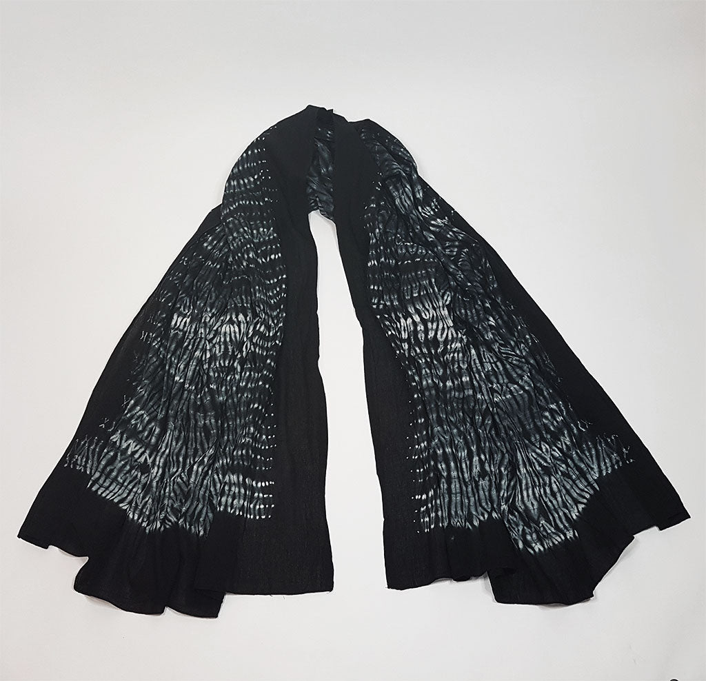 hot haveli lorcan cotton shibori tie dye scarf sarong black open
