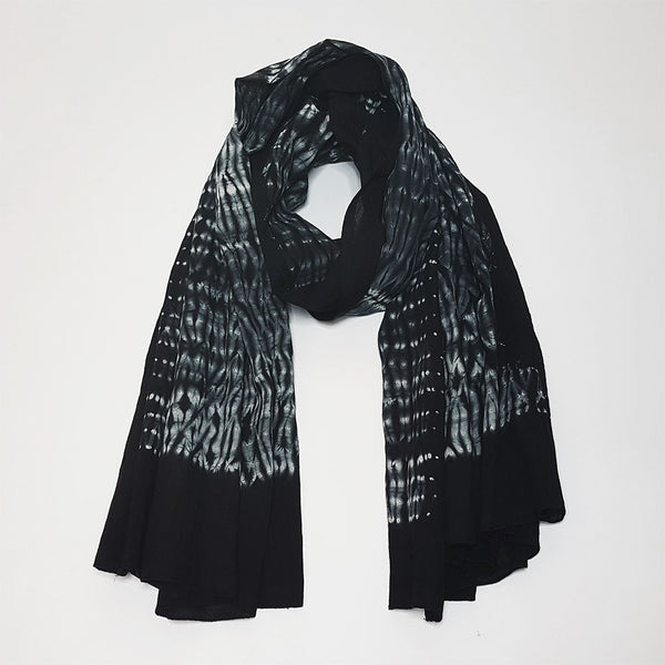 hot haveli lorcan cotton shibori tie dye scarf sarong black