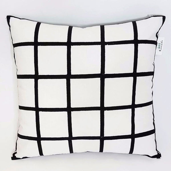 hot haveli marlie hand block print grid mono cushion