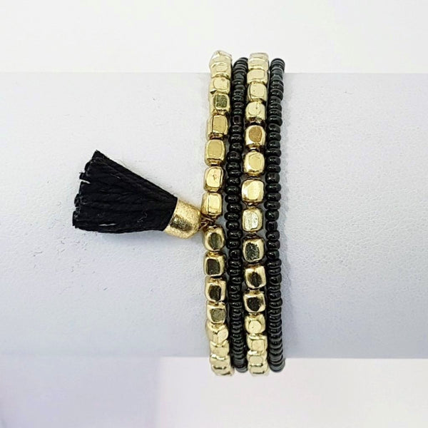 marni hot haveli beaded tassel friendship bracelet - gold black 1