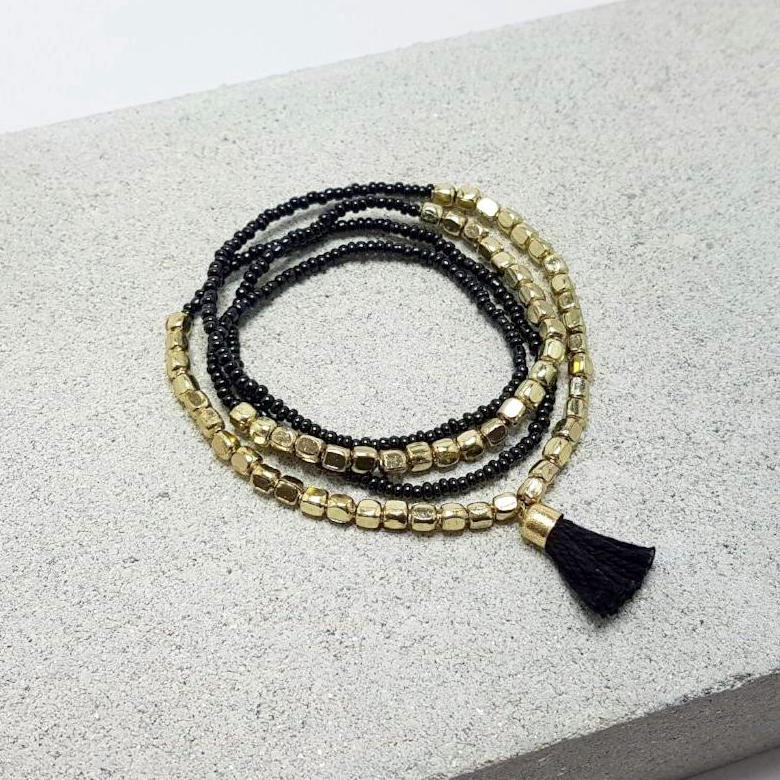 marni hot haveli beaded tassel friendship bracelet - gold black 2
