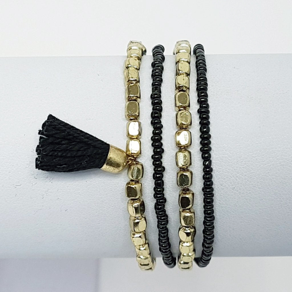 marni hot haveli beaded tassel friendship bracelet - gold black 4