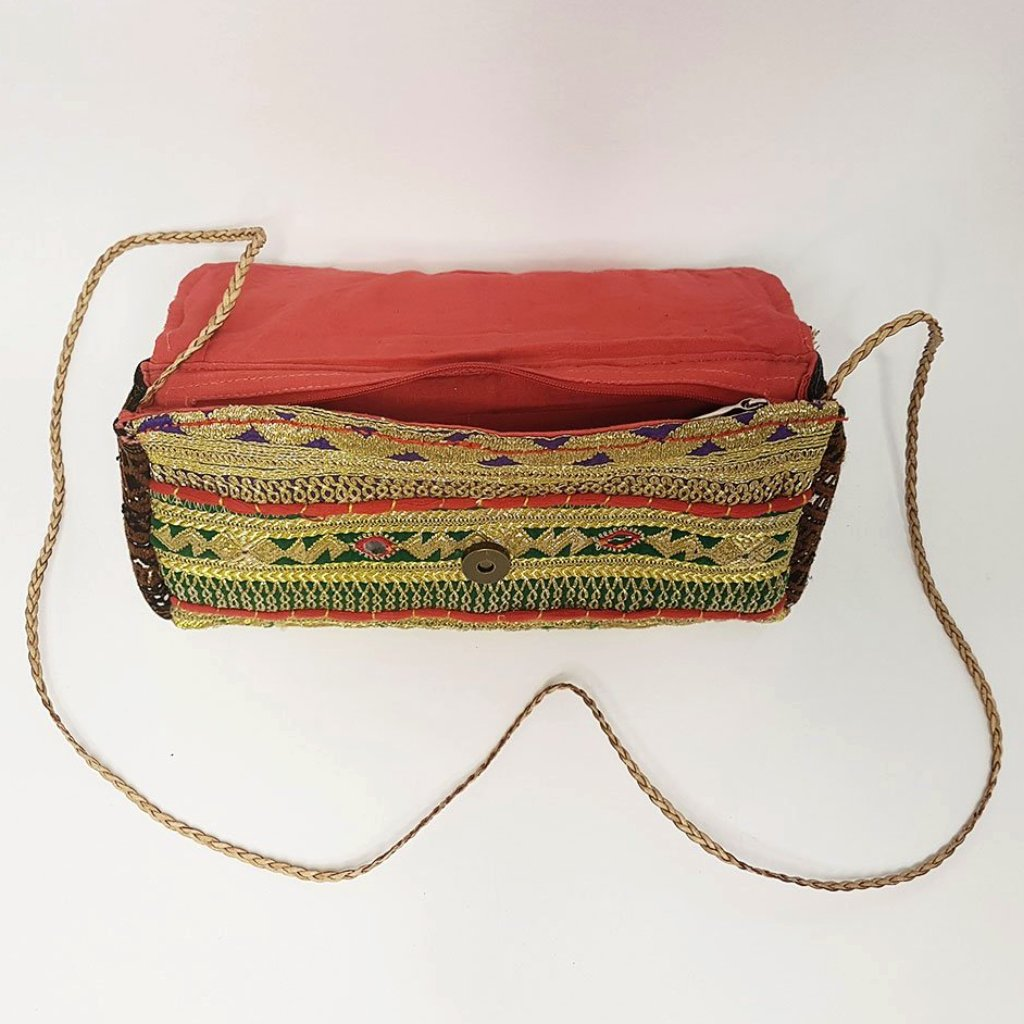 hot haveli miquela vintage embroidered clutch bag