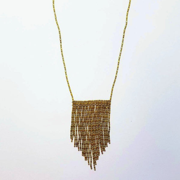 hot haveli nabila flat tassel gold medium necklace