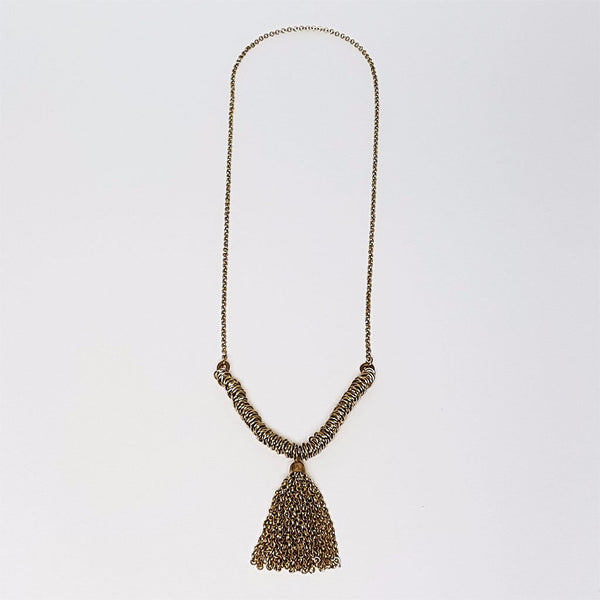 hot haveli nadia gold metal tassel necklace medium