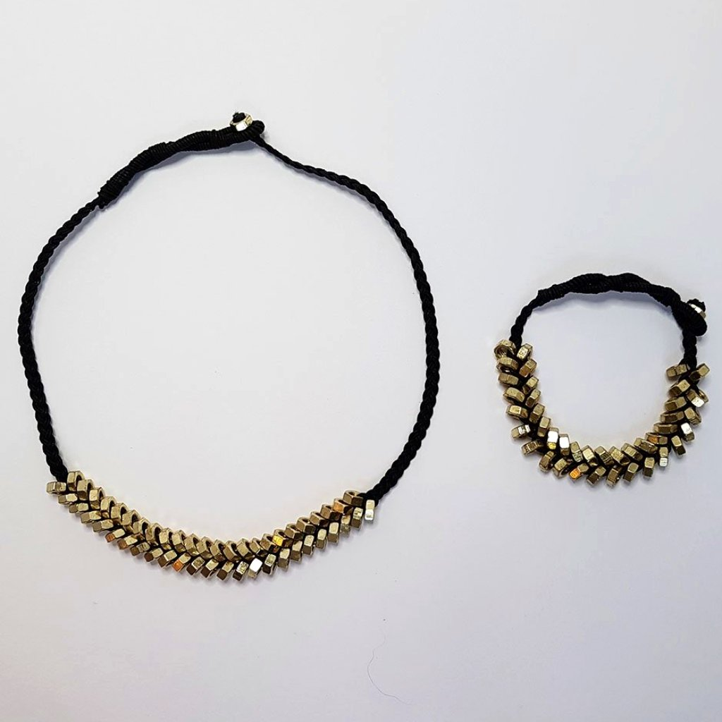 hot haveli odessa punk nut necklace and matching bracelet