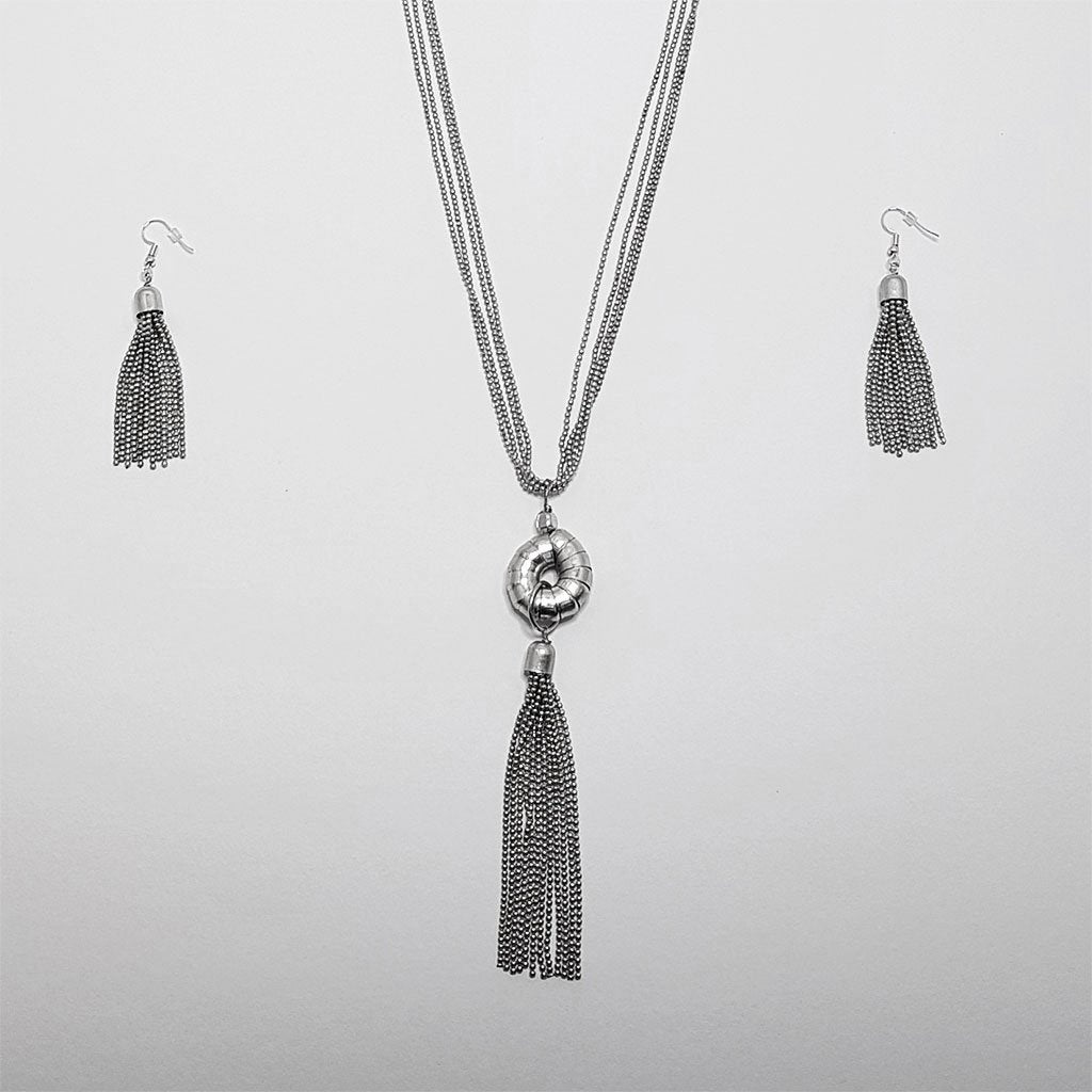 hot haveli raakel silver tassel long necklace earrings