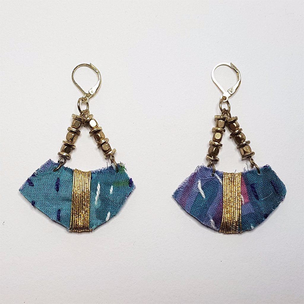 hot haveli sienna recycled kantha boho earrings blue pink gold back