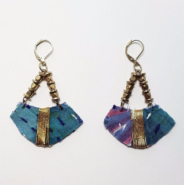 hot haveli sienna recycled kantha boho earrings blue pink gold