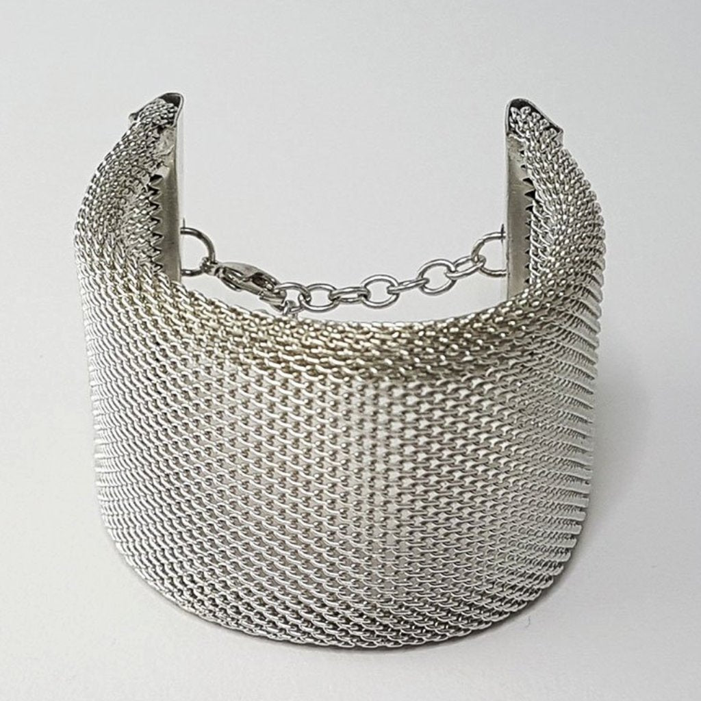 hot haveli xanthe chainmail adjustable wrap cuff bangle silver any size