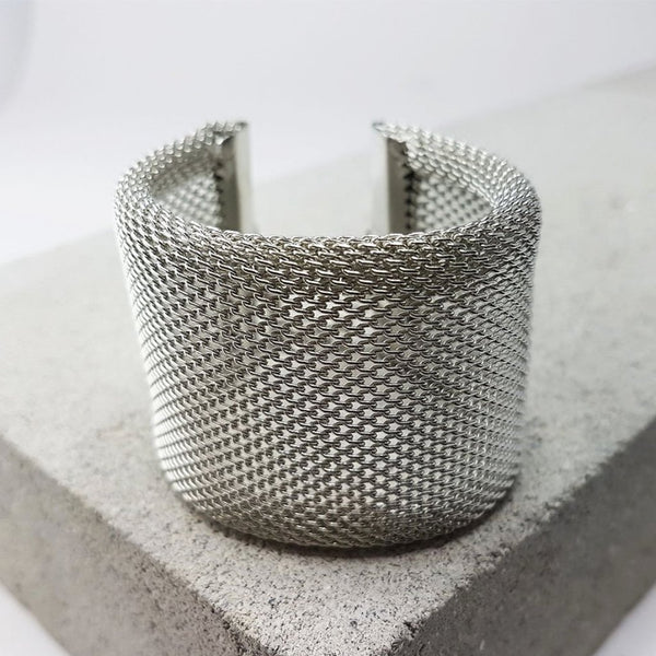 hot haveli xanthe chainmail adjustable wrap cuff bangle silver