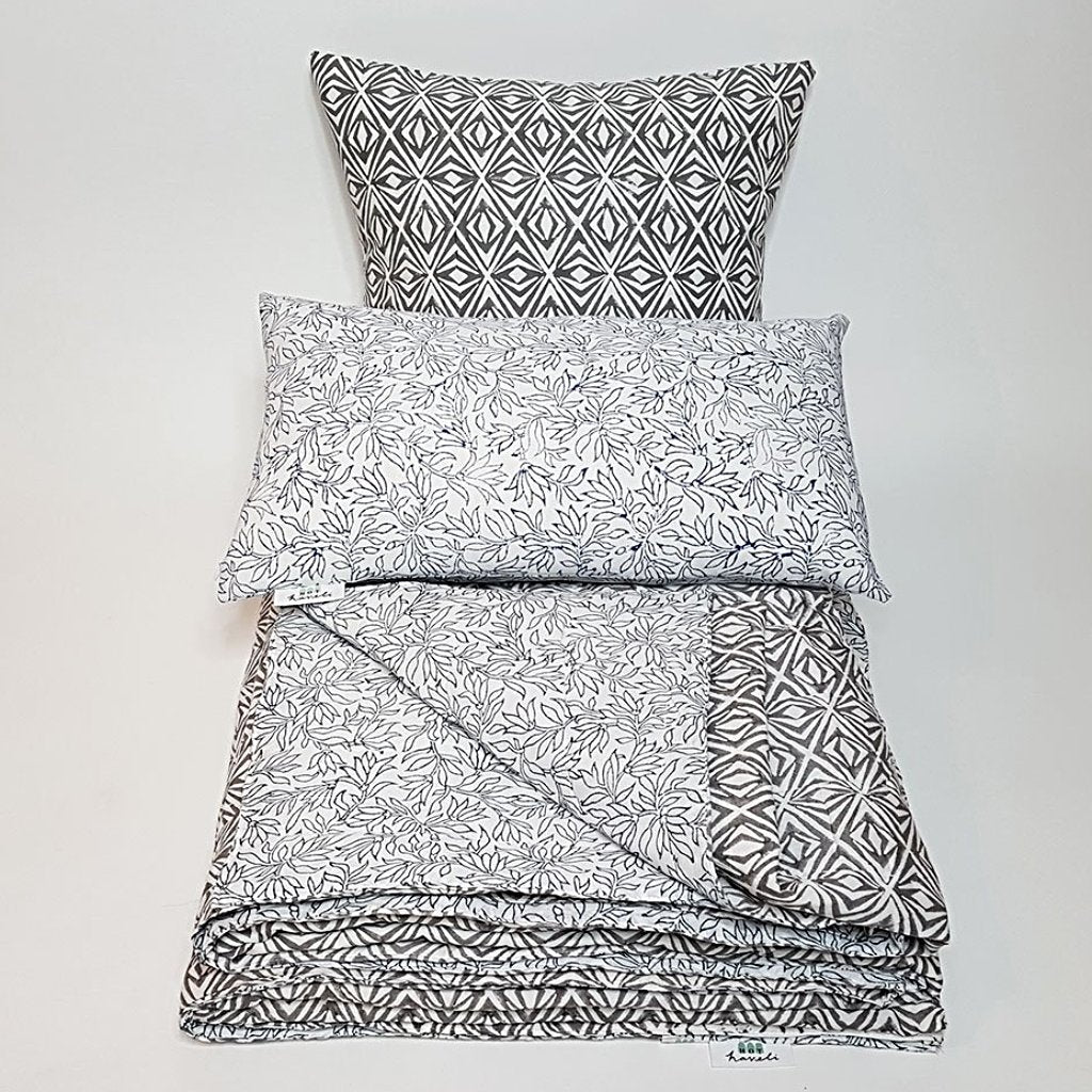 hot haveli xenia block print kantha blue grey bedspread double 3