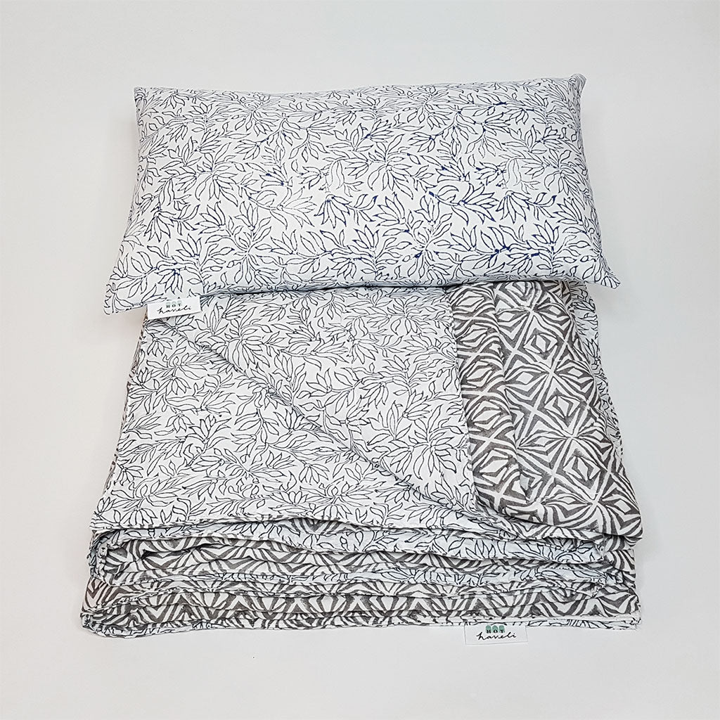 hot haveli xenia block print kantha blue grey bedspread double 2