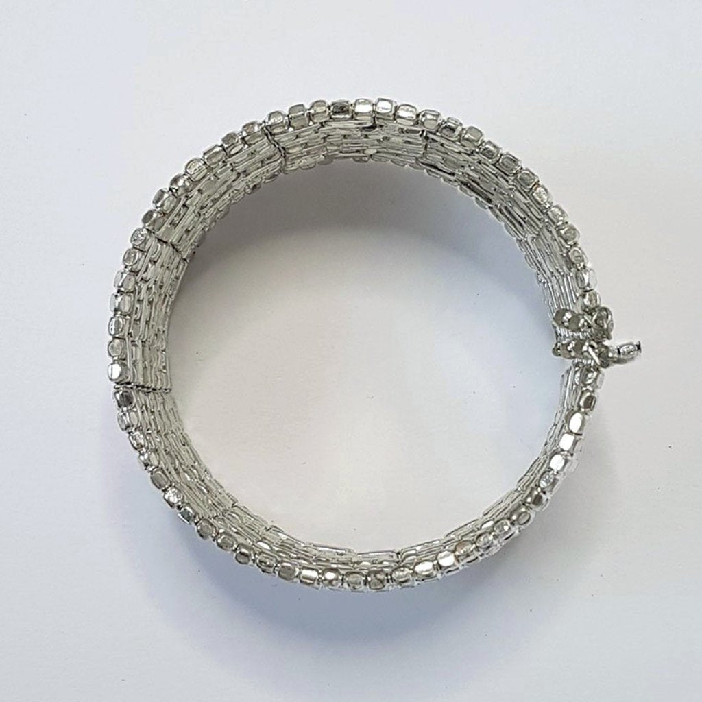 hot haveli zahra silver shimmery cuff bangle flat lay