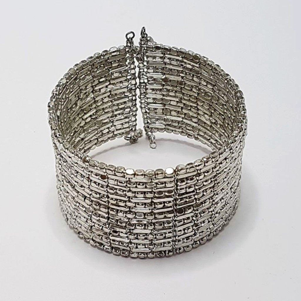 hot haveli zahra silver shimmery cuff bangle adjustable