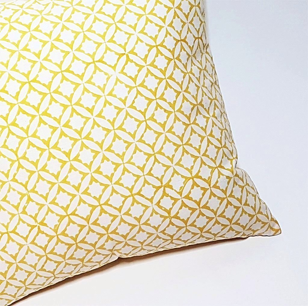 hot haveli zaina block print geo yellow two sided cushion close up