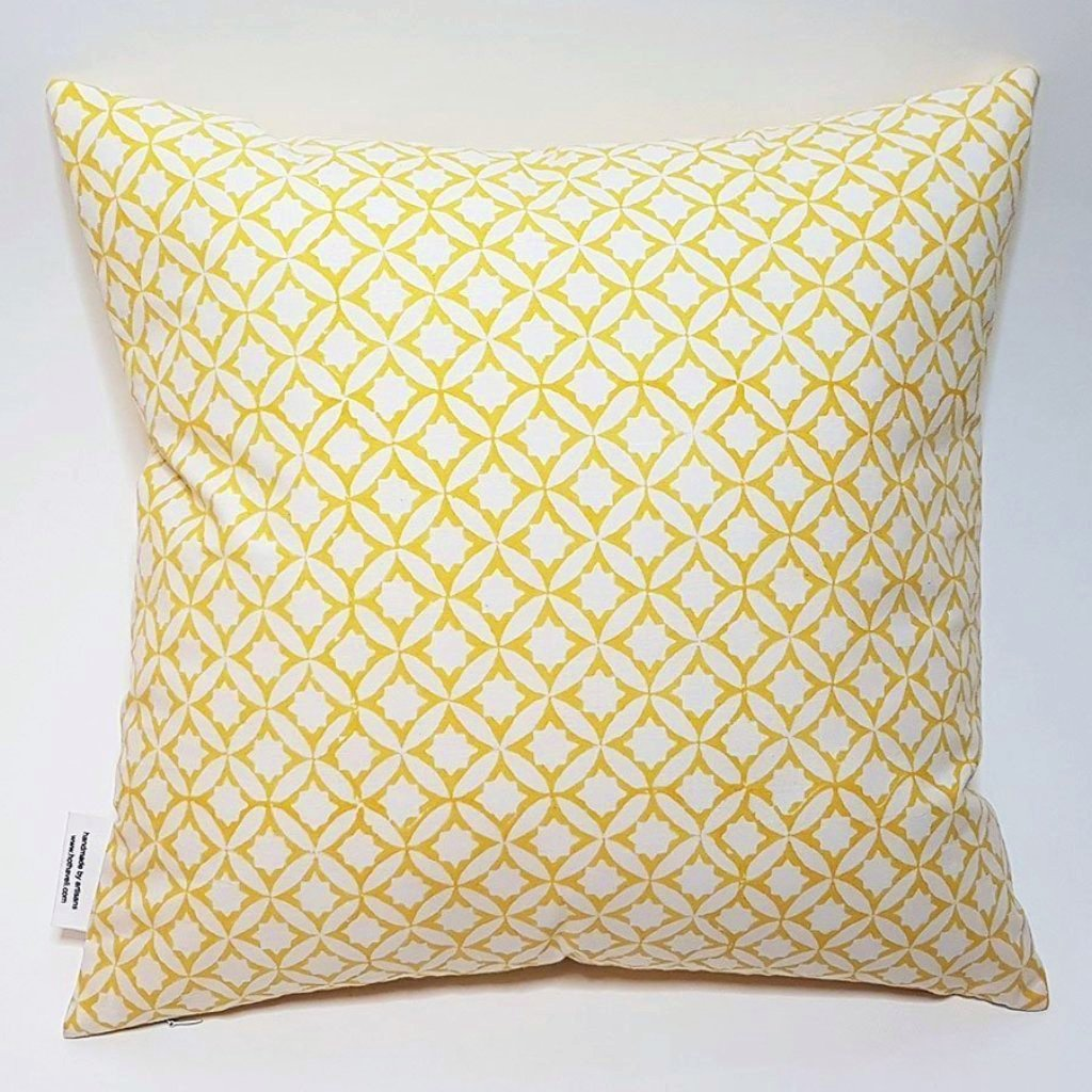 hot haveli zaina block print geo yellow two sided cushion reverse