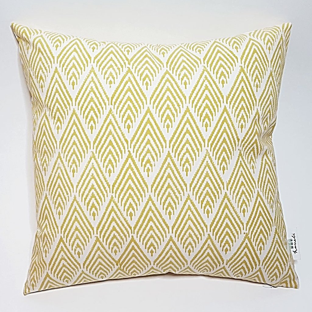 hoy haveli zaina hand block printed yellow geometric cotton cushion