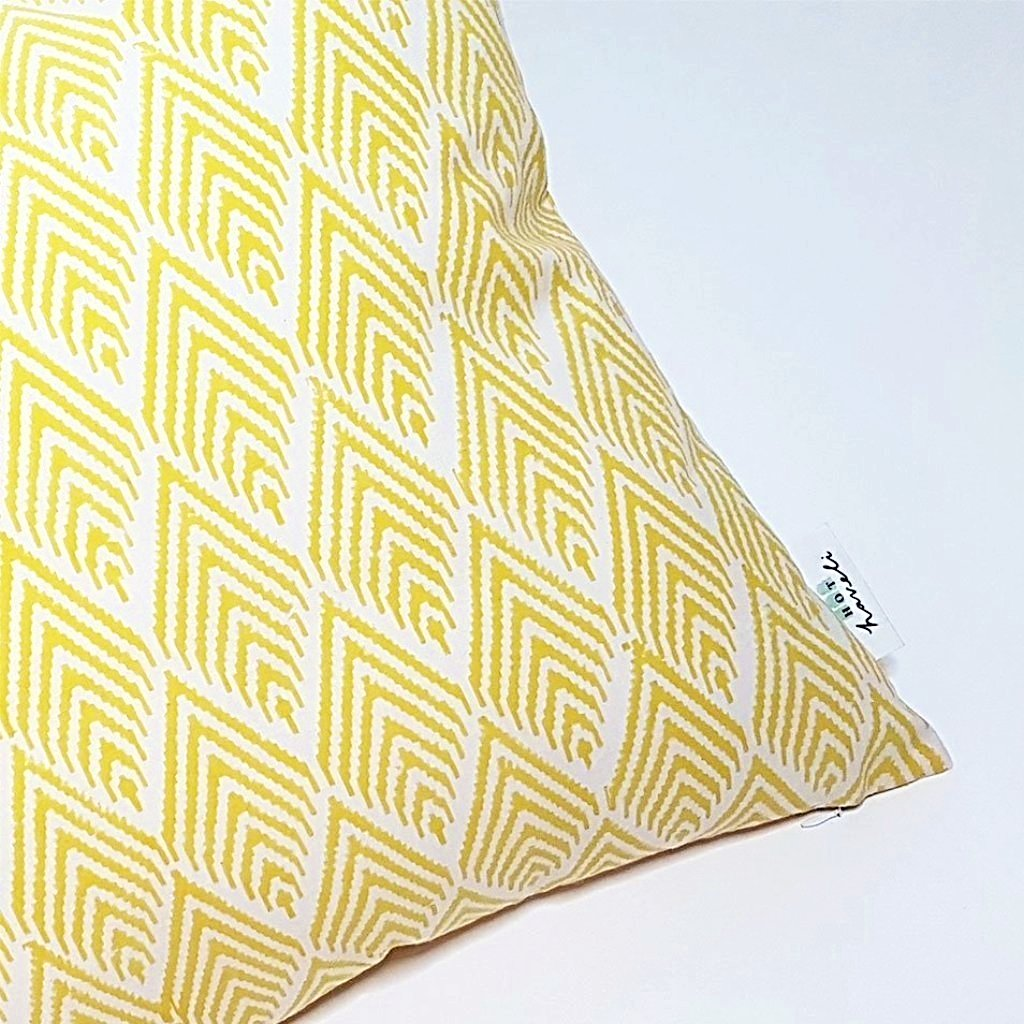 hot haveli zaina block print geo yellow two sided cushion close