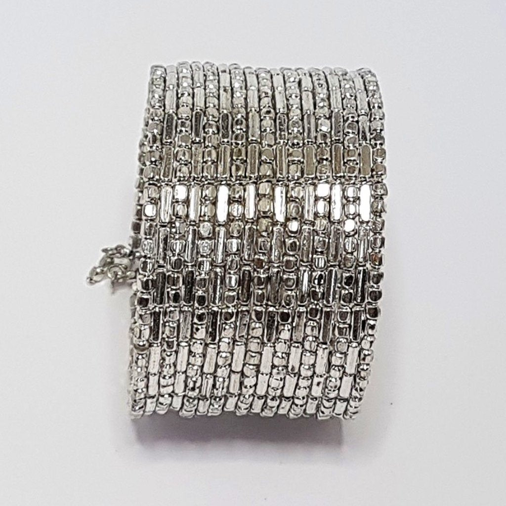hot haveli zahra silver shimmery cuff bangle adjustable side