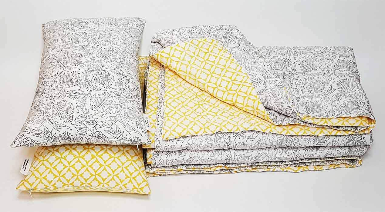 hot haveli hand block printed bedding and cushions