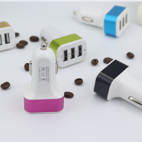 3USB aluminum car charger