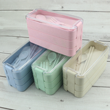 Wheat 3 Tier Lunchbox with Cutlery