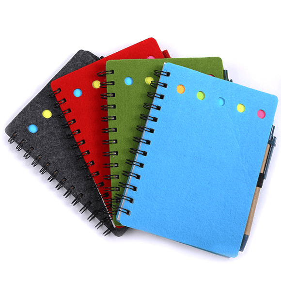 Recycled Notebook with colored Tabs, Namecard Slot and Ball Pen