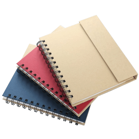 Recycled Notebook with Colored Tabs, Sticky Pad and Ball Pen