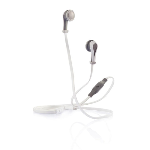 Oova Earbuds With Mic, Grey/White