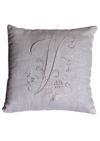 Monogrammed Pillow - White (Most Letters)