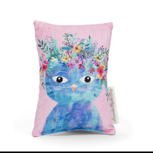 Blue cat with floral head wreath