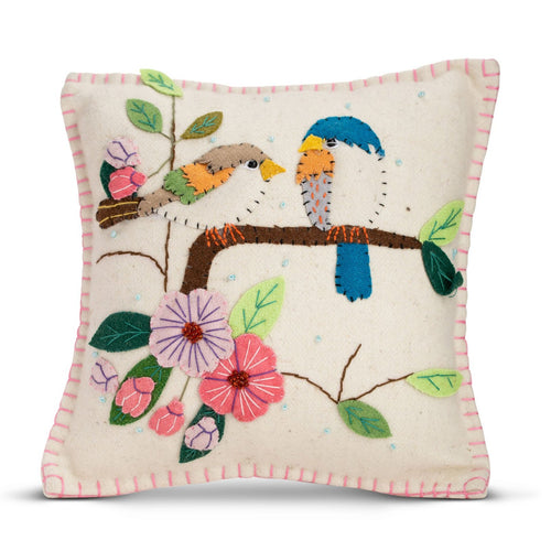 Lavender filled beige applique bird pillow