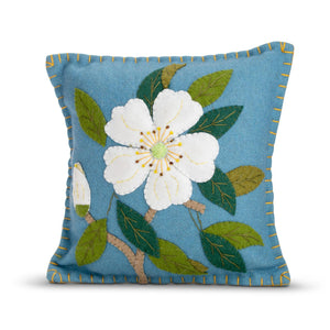Blue Applique Flower Pillow