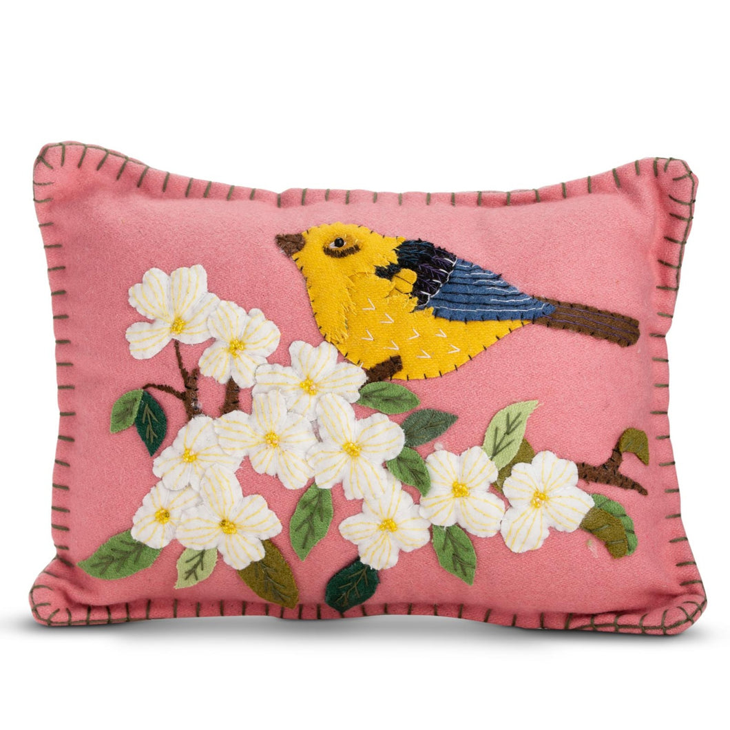 Pink applique bird pillow