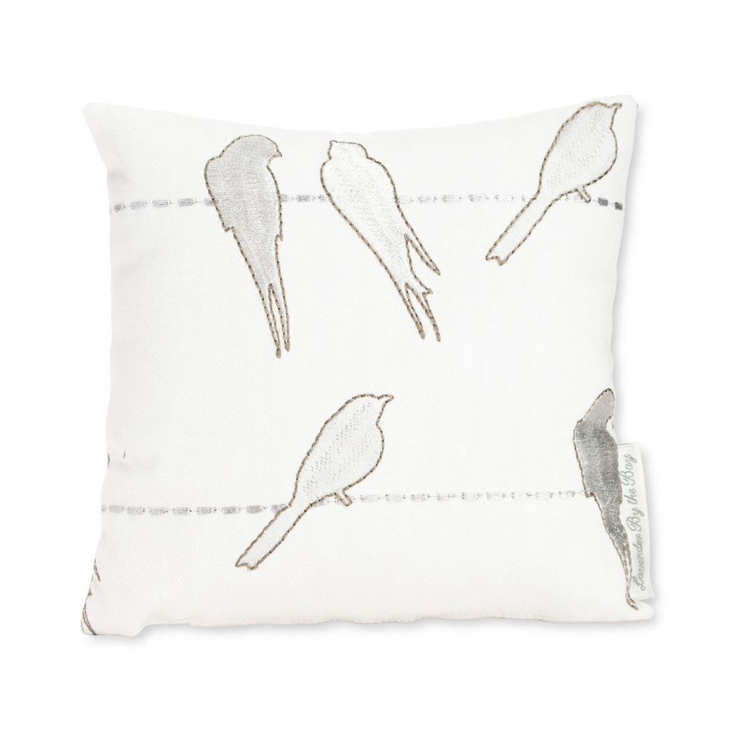 Embroidered bird pillow - Lavender by the bay