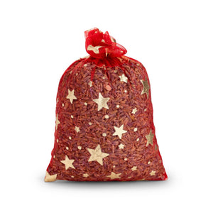 Sheer red sachet with gold stars