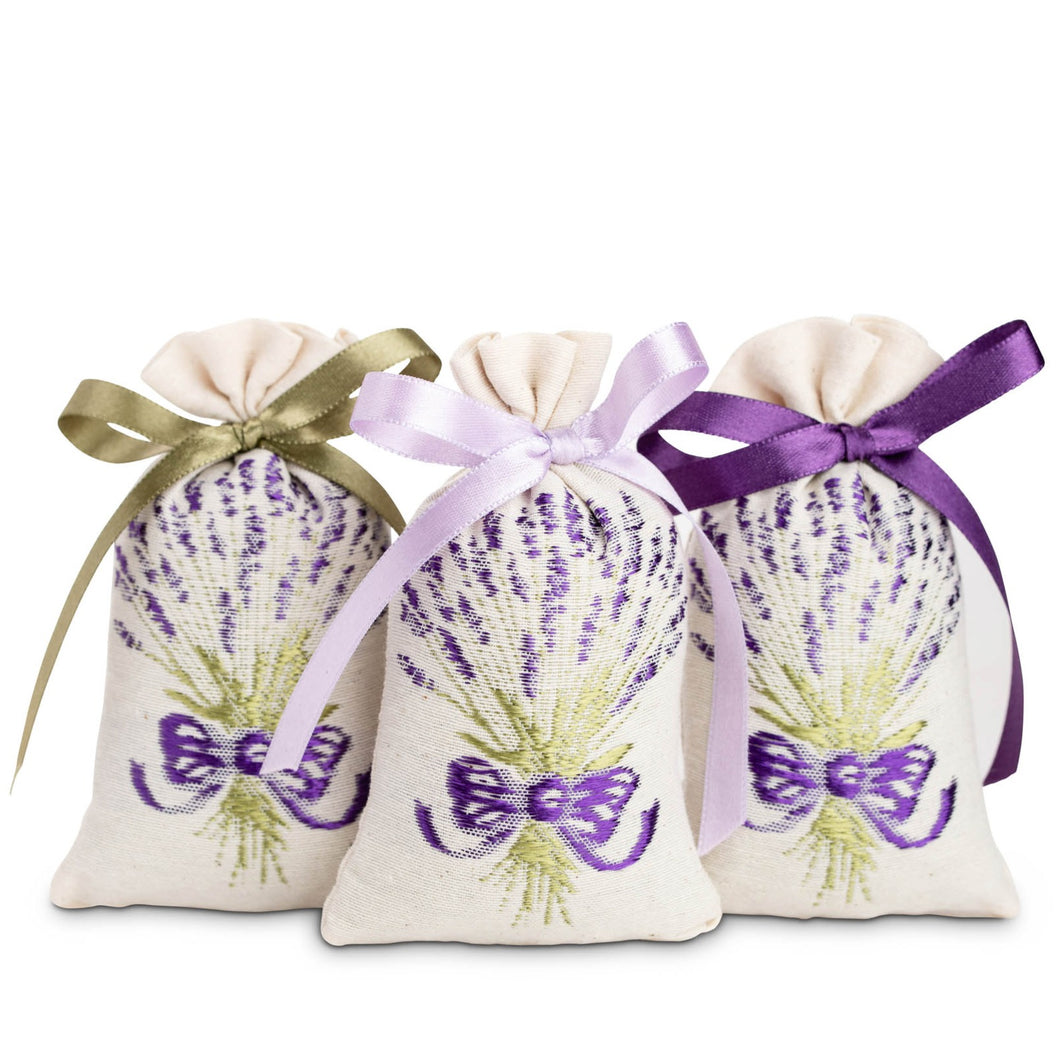 Embroidered lavender sachets set of 3