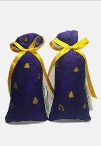 Purple and gold ribboned sachet