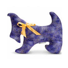 Purple dog pillow with gold flecks