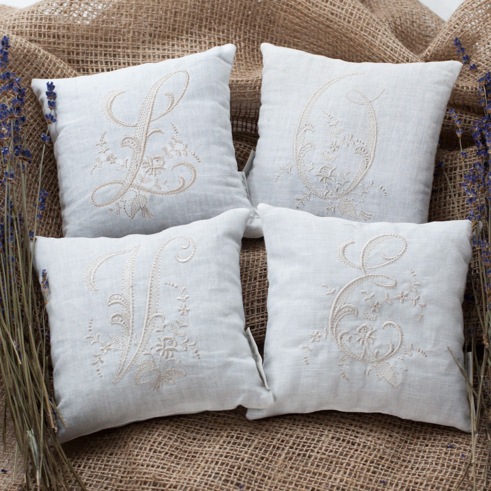 Monogrammed Pillow - White (Most Letters) - Lavender By The Bay